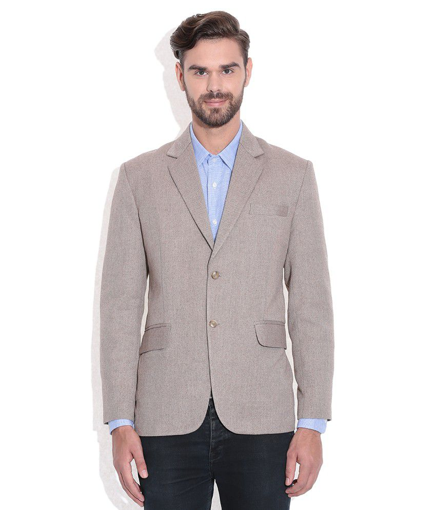 Tribes India Gray Self Woollen Blazer