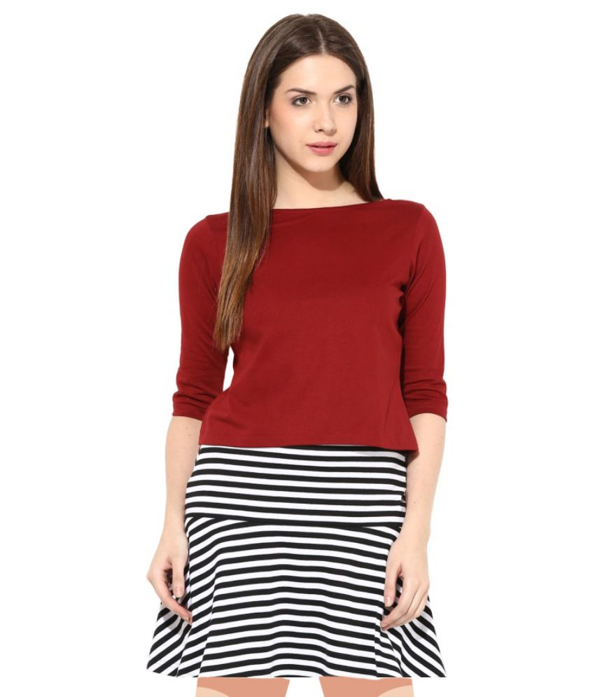 ed4e9090a15 Miss Chase Maroon Cotton Crop Tops For Women Half Sleeve Round Neck Casual  Wear available at
