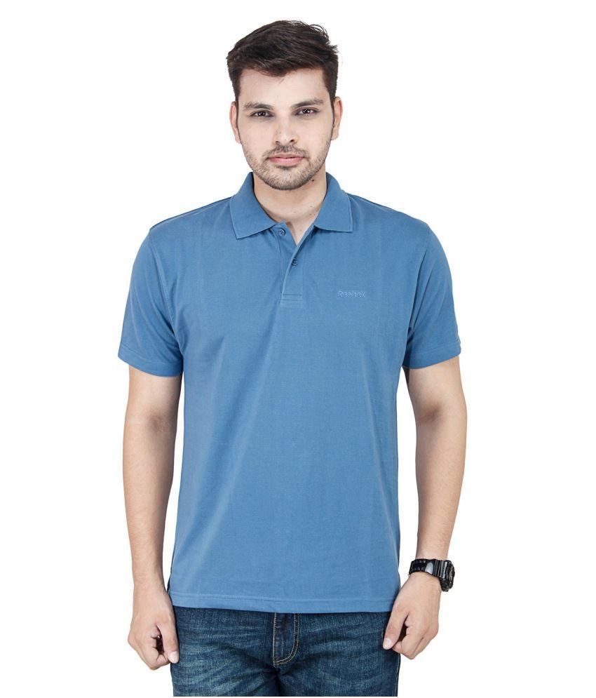 Reebok Blue Cotton Blend Polo T - Shirt