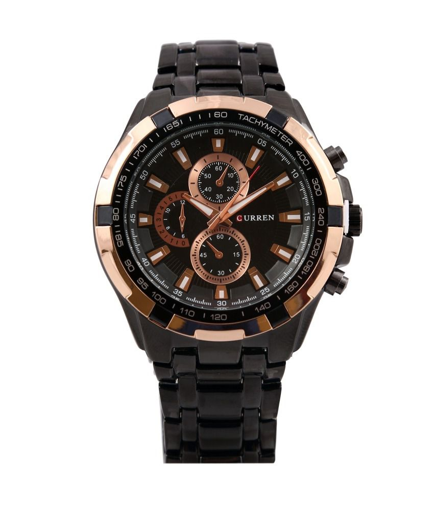 Curren Black Metal Analog Watch