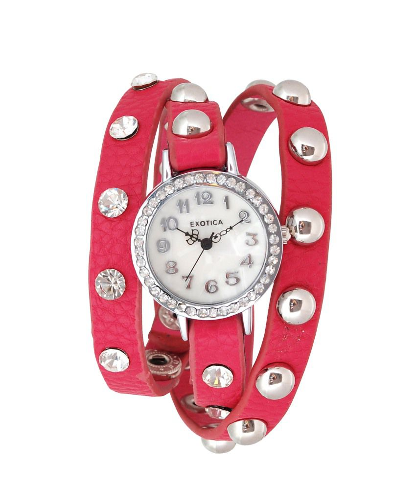 Exotica Fashions Exotica Fashions Red Leather Analog Watch