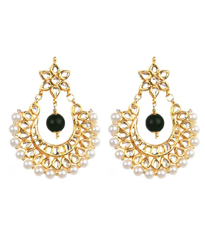 Makezak Black Kundan Alloy Earrings