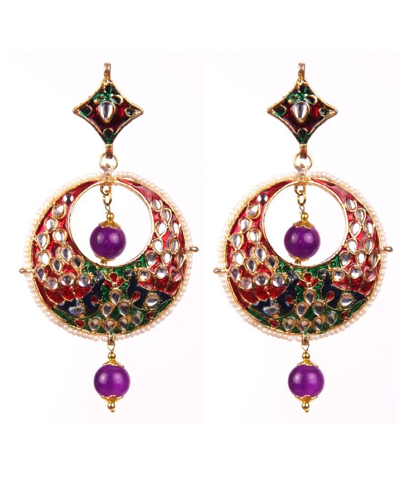 Makezak Multicolour Kundan Alloy Earrings