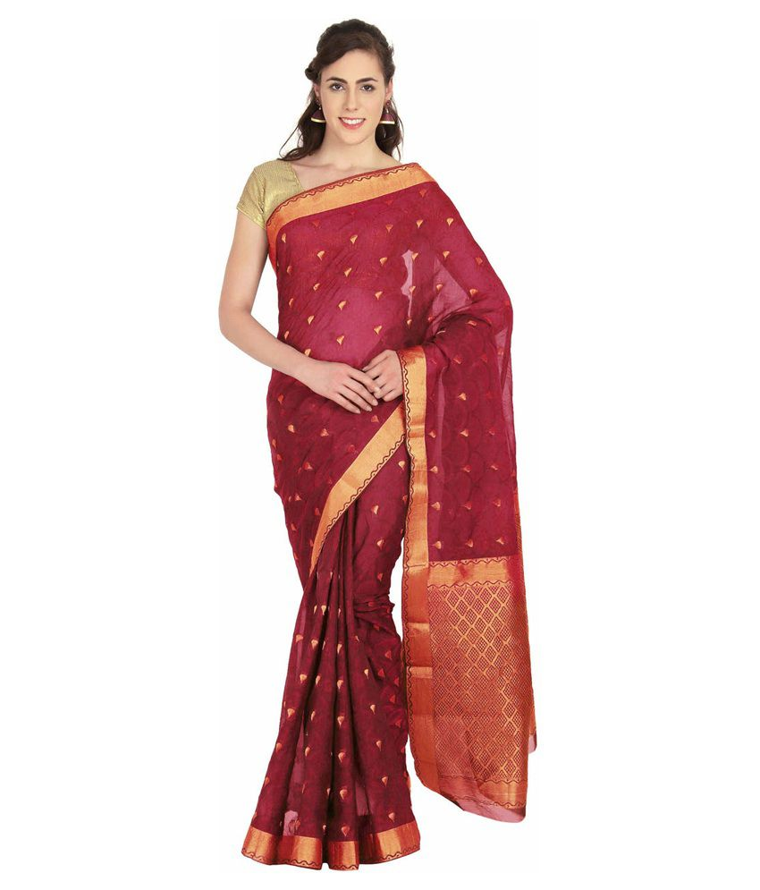 Platinum Red Silk Saree