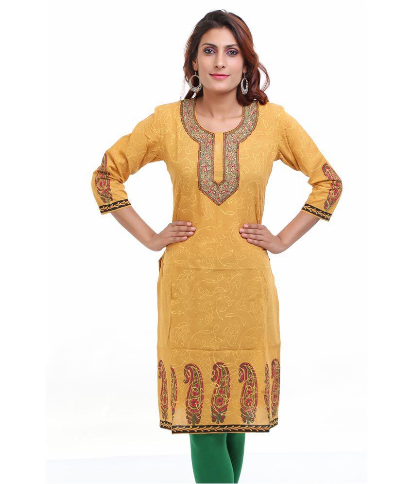 Aamii Yellow Cotton Kurti