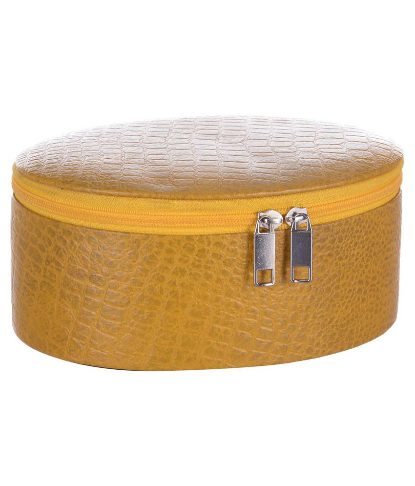 Bluwhale Yellow Leather Oval Jewellery Box