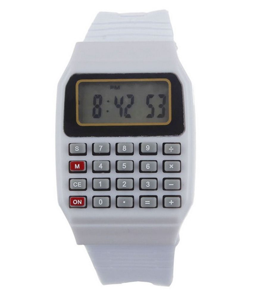 Pappi Boss Pappi Boss Unisex White Calculator Watch for Boys & Girls