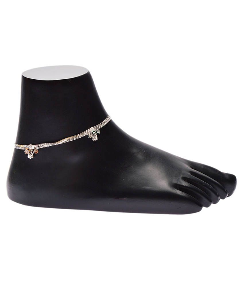 iGenie Silver Floral Anklets