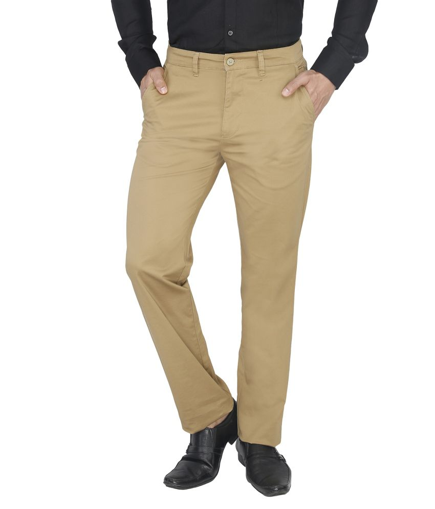 Live In Beige Slim Fit Casual Chinos