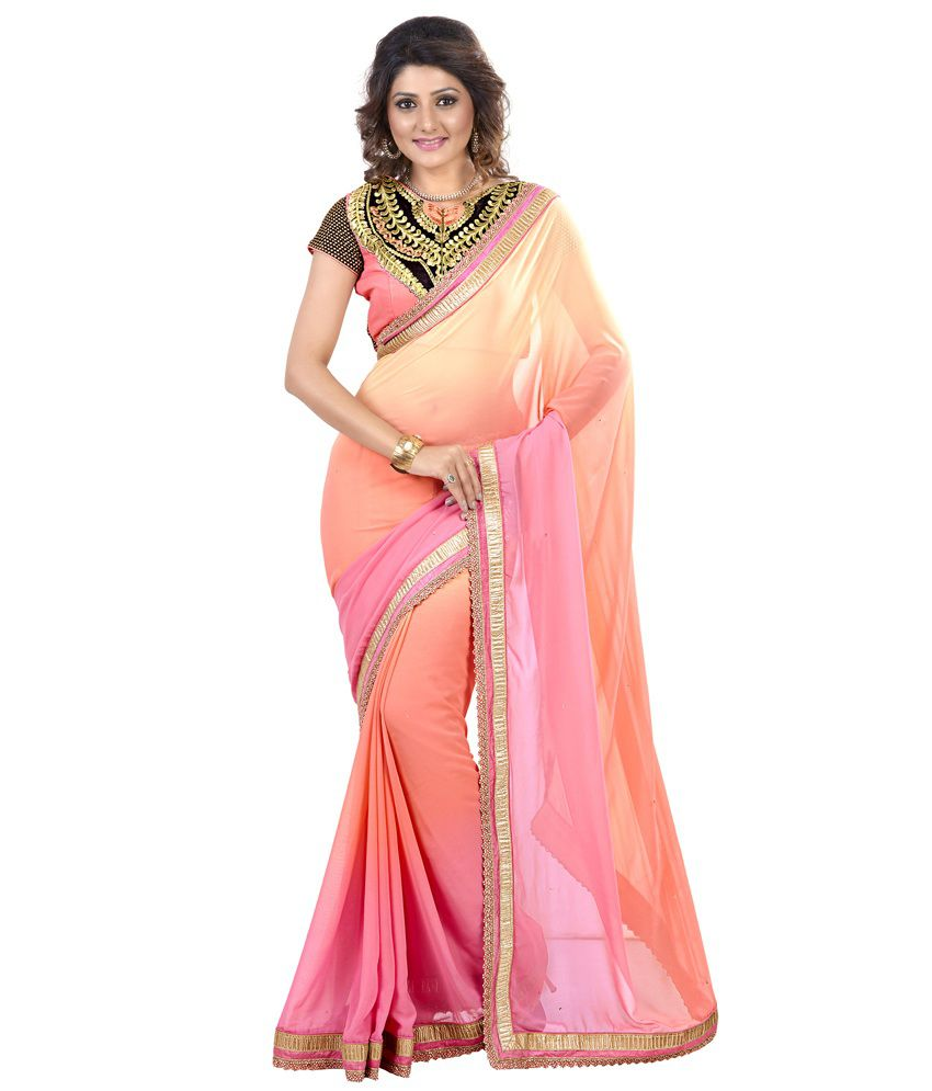 Lookslady Orange Faux Georgette Saree