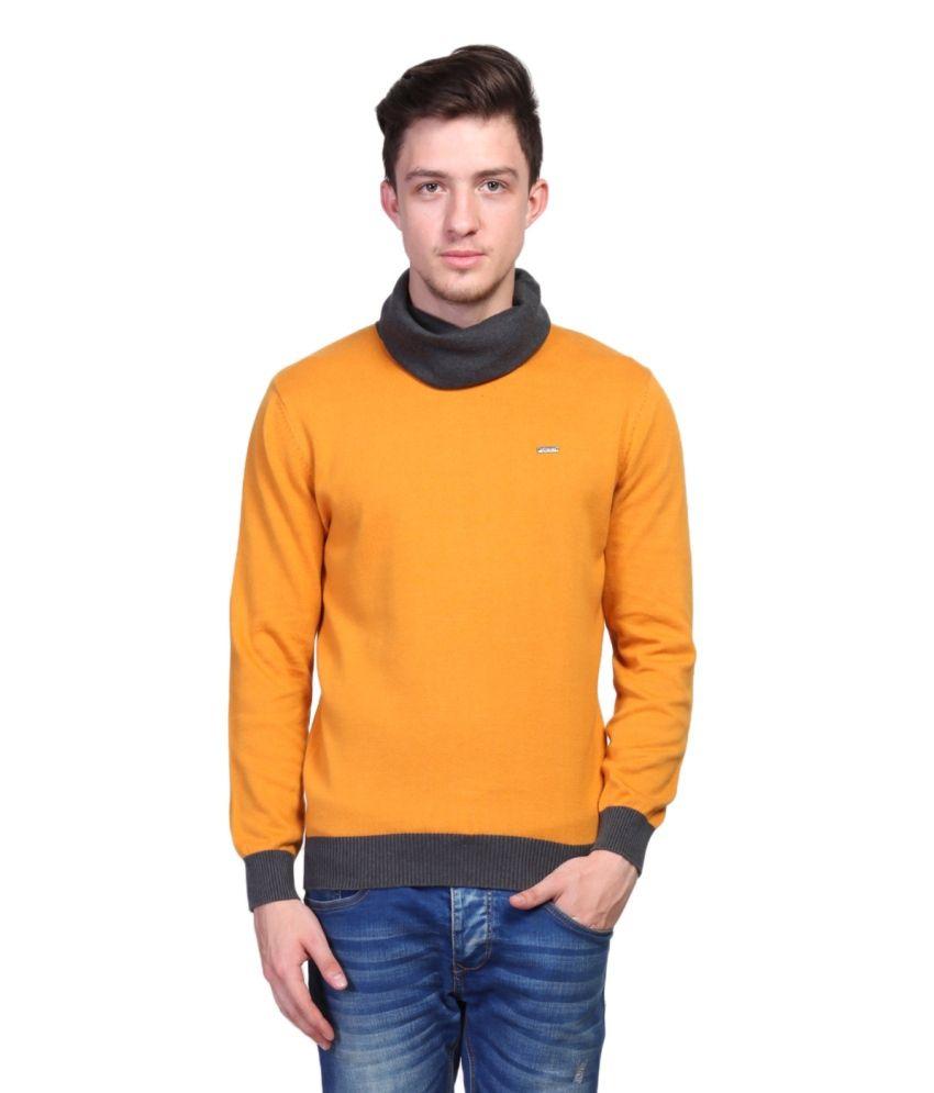 Tsavo Orange Full Sleeve Cotton Round Neck Sweater