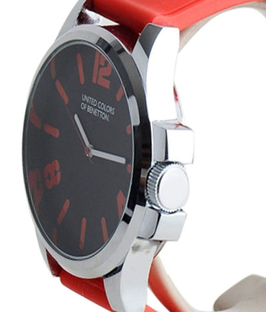 United colors of benetton red leather analog watch buy united colors of benetton red leather for Benetton watches
