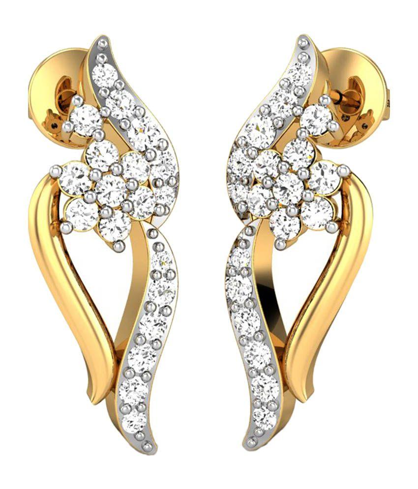 Candere Kylie Gold 14K Diamond Earrings