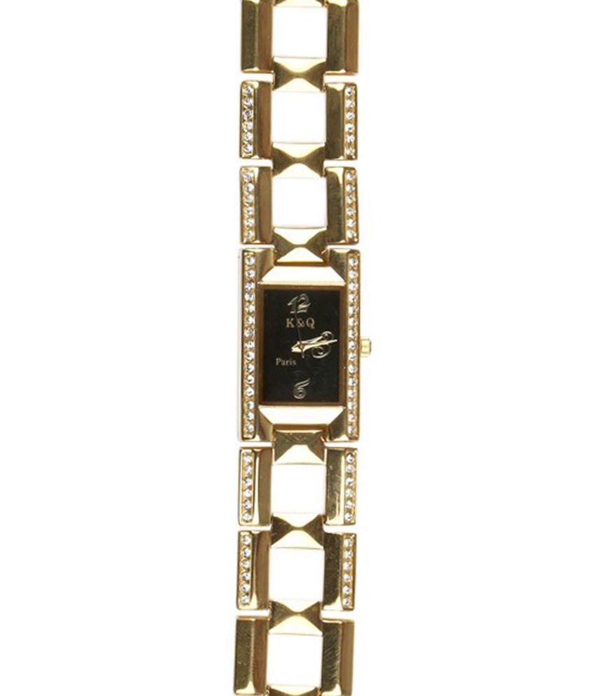 K & Q Paris Golden Strap Metal Watch