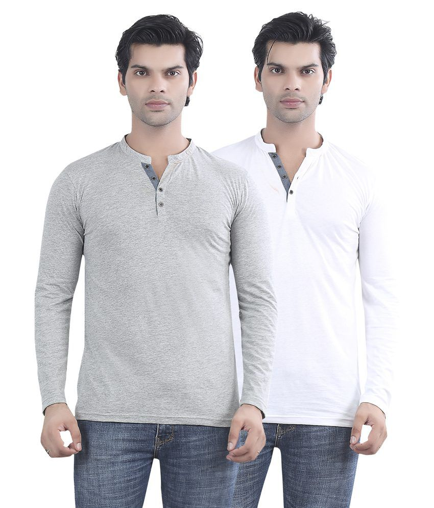 Maniac Grey And White Cotton T-shirt - Pack Of 2