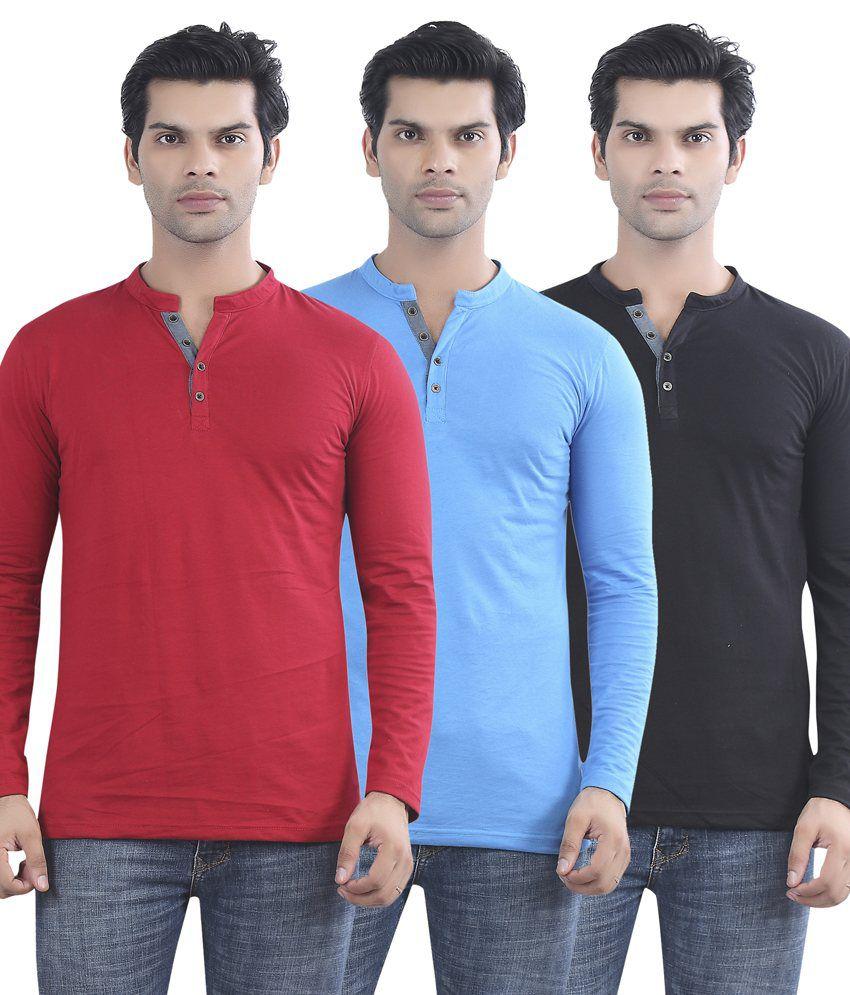 Maniac Multicolour Cotton T-shirt - Pack Of 3