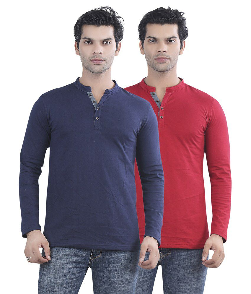 Maniac Navy Blue And Red Cotton T-shirt - Pack Of 2