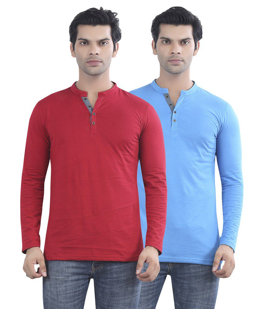 Maniac Red And Blue Cotton T-shirt - Pack Of 2