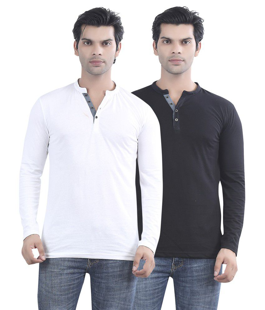 Maniac White And Black Cotton T-shirt - Pack Of 2