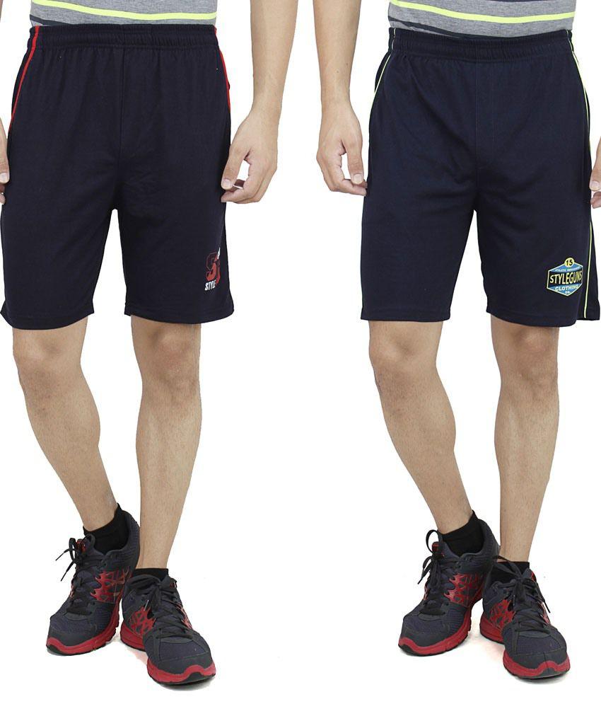 Style Guns Navy Cotton Blend Shorts - Combo Of 2