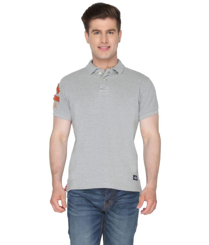 Again? Vintage Grey Cotton Polo T-shirt