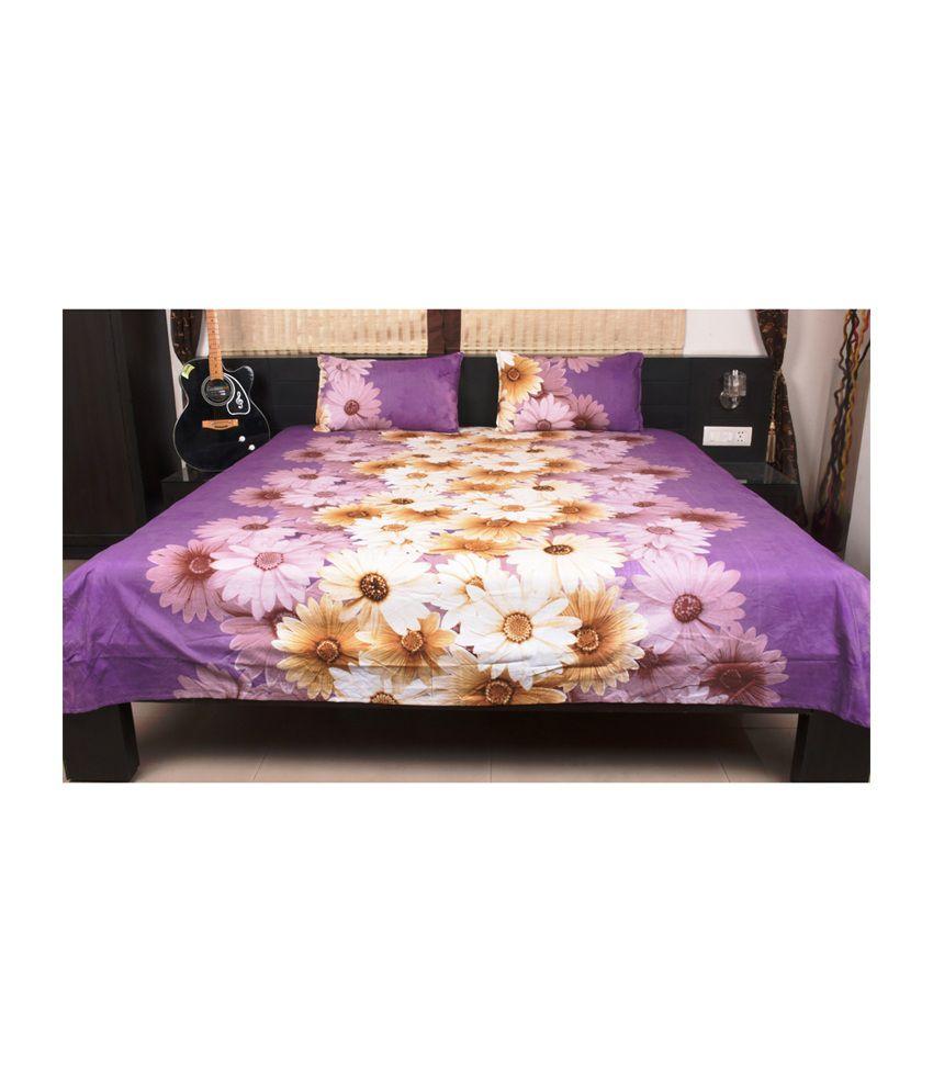 Home Creations Purple Poly Cotton 3d Floral Design Double