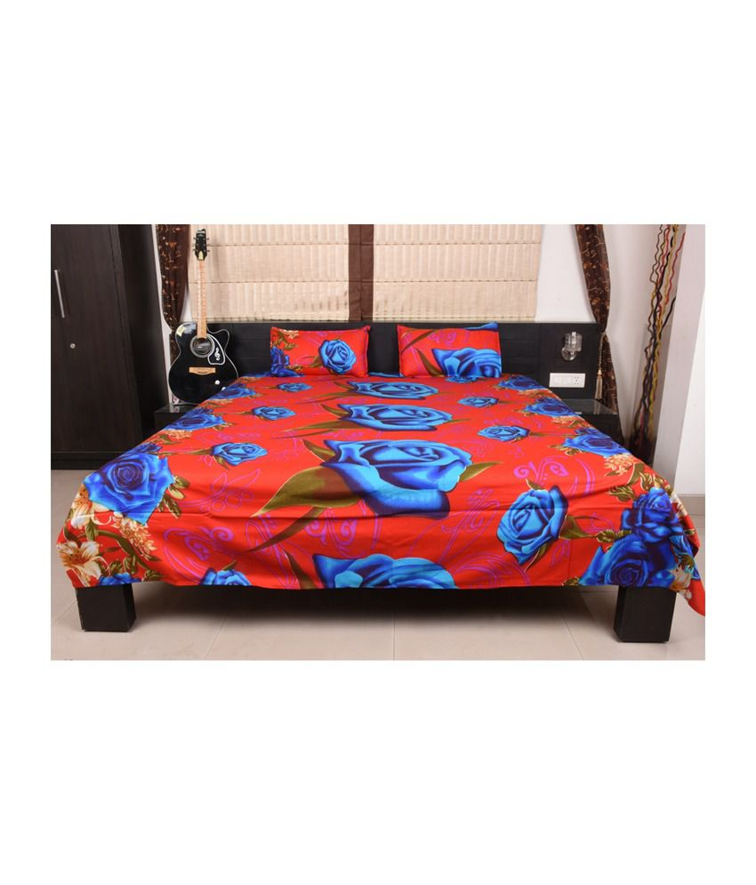 Home Creations Red U0026 Blue 100% Cotton 3D Floral Design Double Bedsheet With  2 Pillow ...