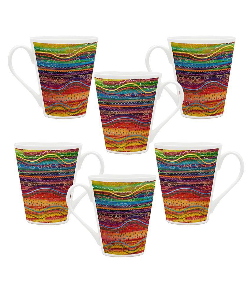 Homesogood White Glass Mug - Pack Of 6