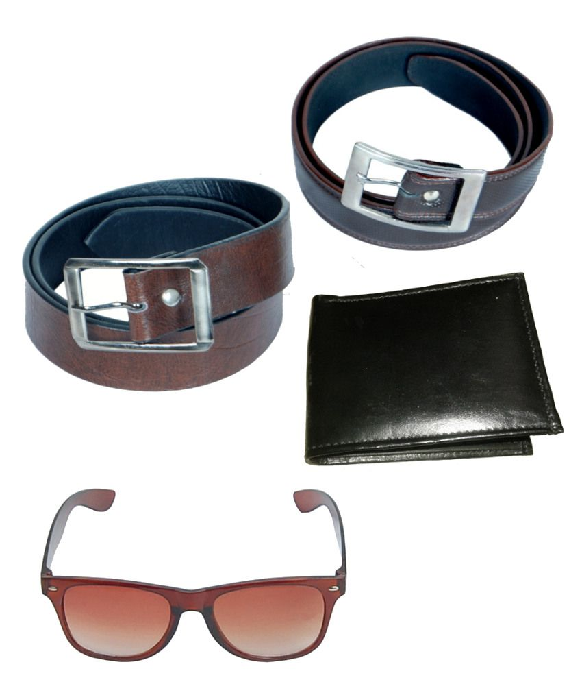KVELL Be Proud Present's Combo Of Soft Brown , Shinning Black Belt , Wallet & Brown Wayfare