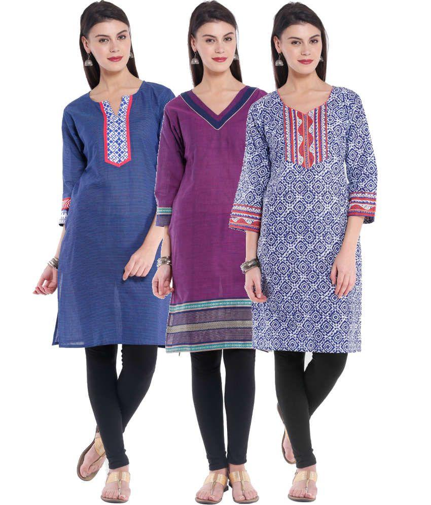 Almas Blue and Purple Printed Cotton Kurti (Pack of 3)