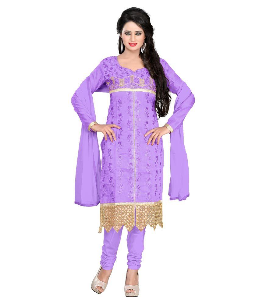 Shree Vardhmn Purple Chanderi Unstitched Dress Material