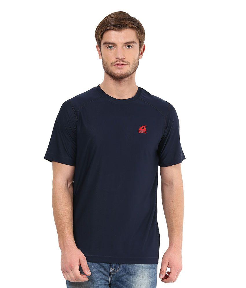Aurro Navy Polyester T Shirt