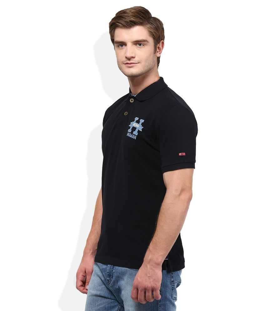 ba0ab762 Being Human Black Solid Polo T Shirt - Buy Being Human Black Solid ...