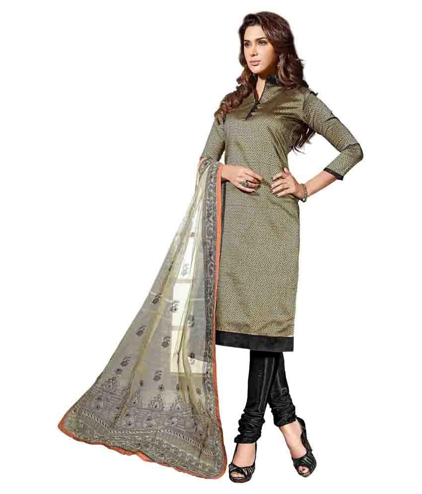 Prachi Silk Mills Green Chanderi Unstitched Dress Material