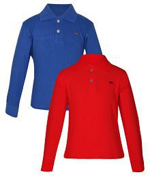 Gkidz Red and Blue Full Sleeves Polo T-Shirt - Pack of 2