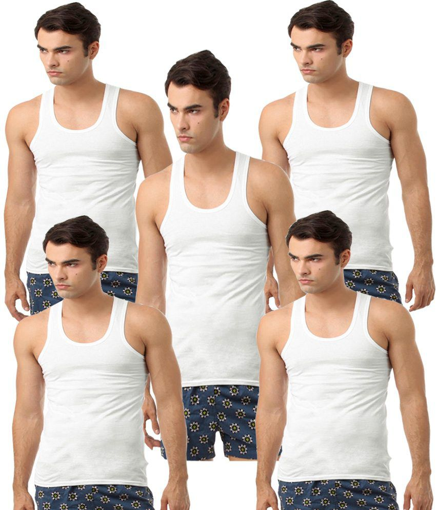 Saadgi Collections White Cotton Vests - Pack Of 5
