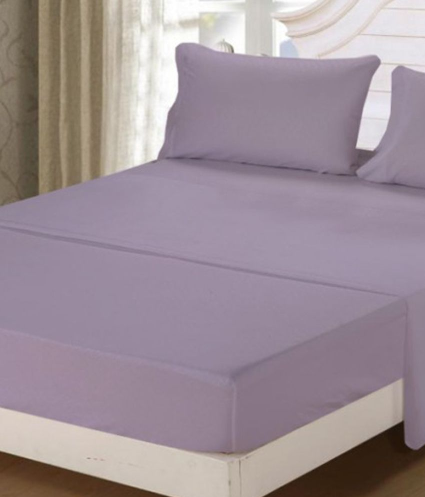 Scala Lilac Plain Cotton 1 Single Bedsheet With 2 Pillow Covers