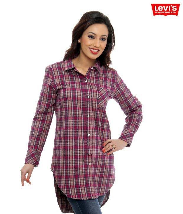 Levi's Magenta Checkered Tunic Top