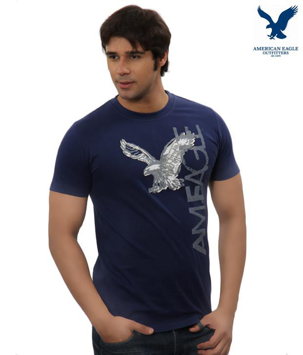 American Eagle Cool Navy Blue T-Shirt