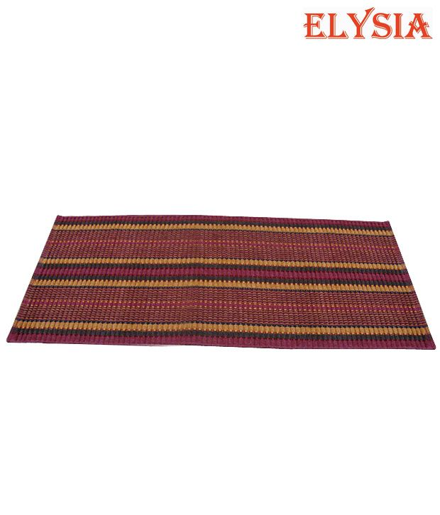 Elysia Cotton Maroon and Mustard Bedside Runner