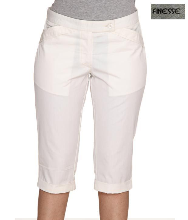 Finesse Attractive White Cotton-Lycra Capri