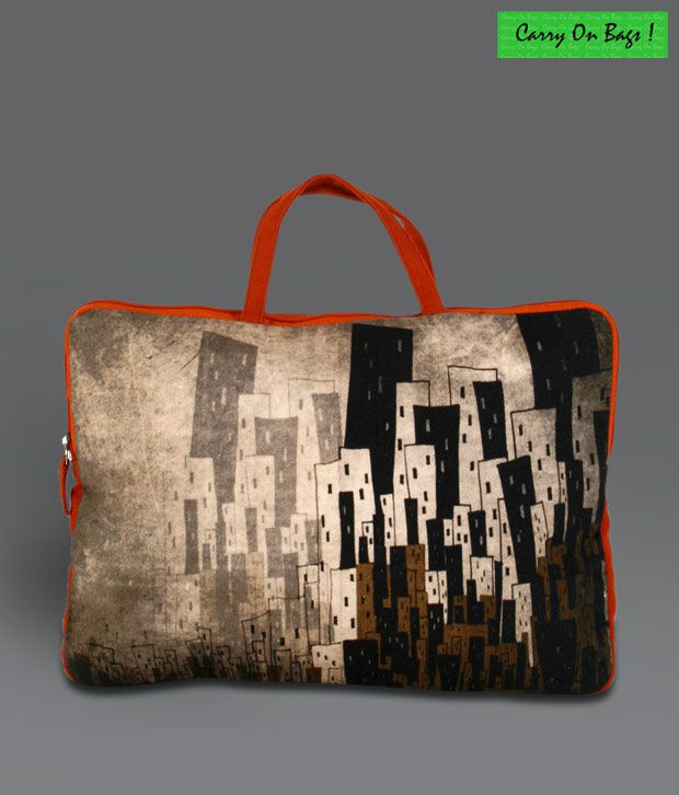 Carry On Bags Brown Scenic Print Laptop Sleeve