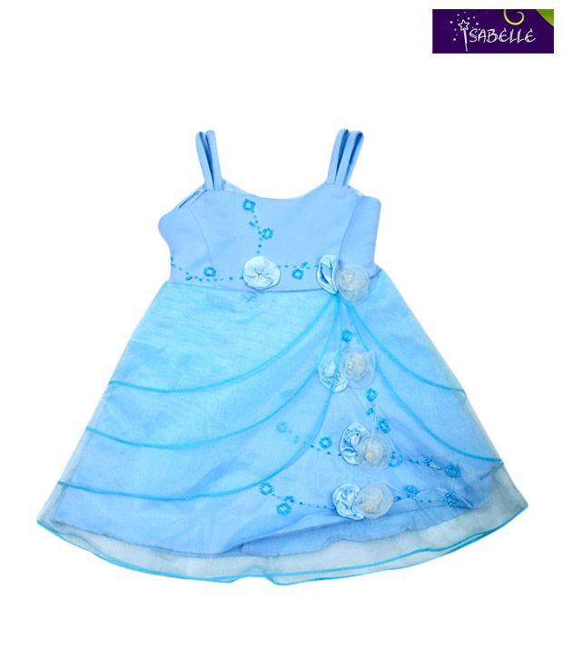 Isabelle Alluring Blue Flower Applique Taffeta For Kids