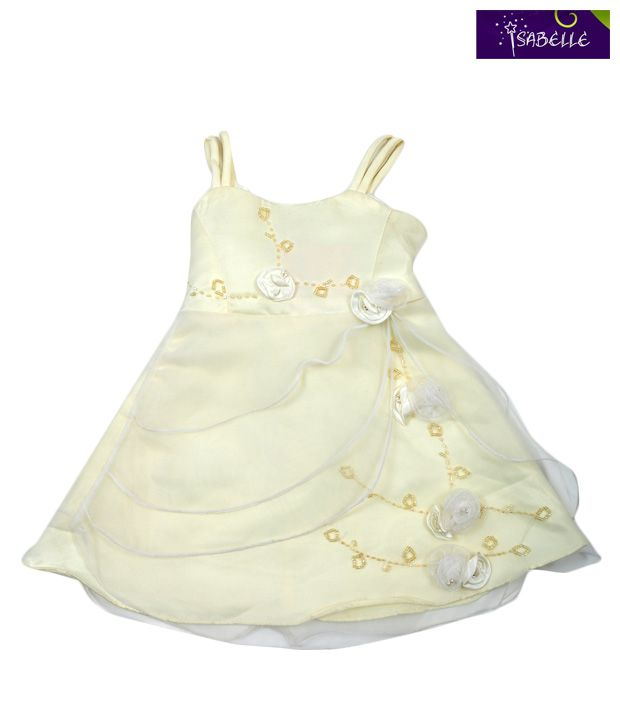 Isabelle Alluring Cream Flower Applique Taffeta For Kids
