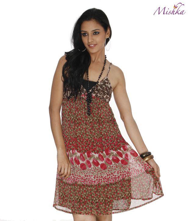 Mishka Multi Printed Polyester Strap Dress