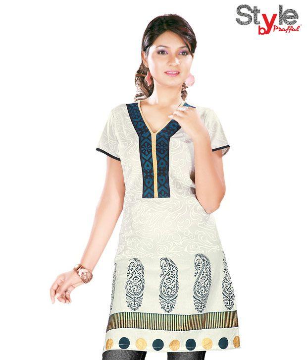 Style by Prafful Serene Off White-Blue Cotton Kurti