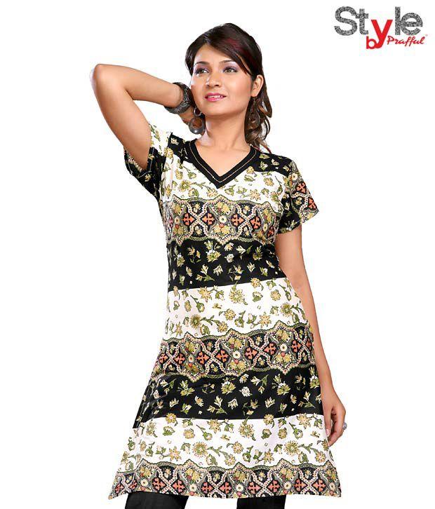 Style by Prafful Modish Black-White Cotton Kurti
