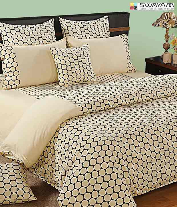 Swayam Cream & Black Circular Print Bed Sheet Set