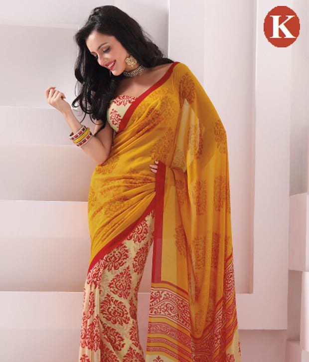Khazana Yellow Georgette Saree