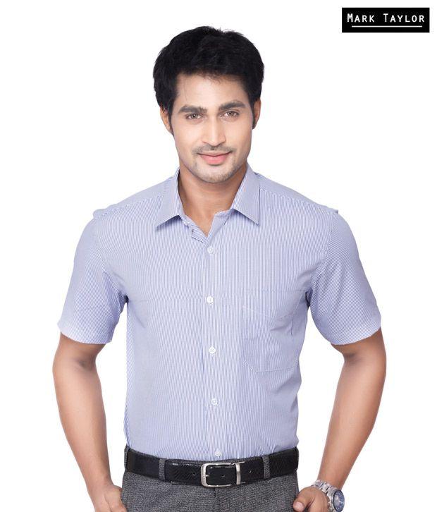 Mark Taylor Shady Blue Stripes Shirt